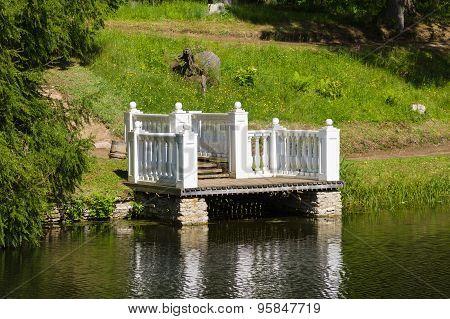 Vintage Style Pond Jetty, Gangway In Summer Park