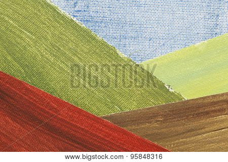 mountain valley landscape abstract - a collage of painted art canvas pieces, created by  the photographer