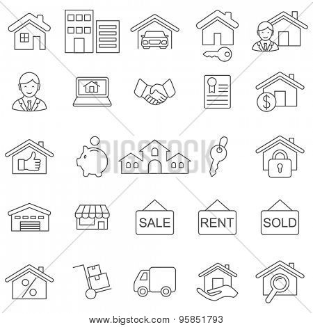 Real Estate line icons set.Vector