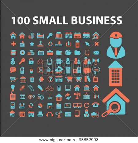 small business, management, marketing icons, signs, illustrations set, vector
