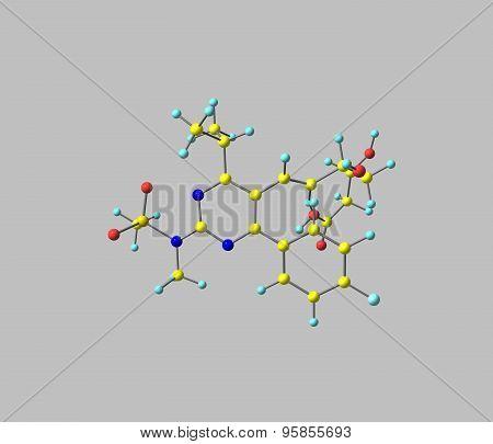 Rosuvastatin molecule isolated on grey
