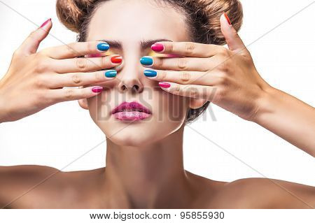 Model, A Woman With Bright Makeup And Bright Nail Polish On A White Background.