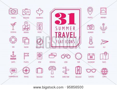 Travel vector icons set. Sea, rout and holiday symbols. Stock design elements.