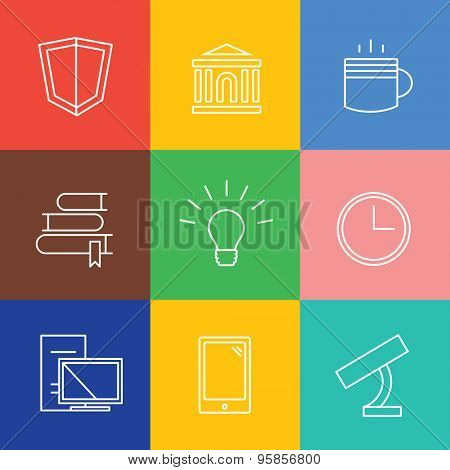 Education vector logo icons set. Graduation, school and science symbols. Stock design elements.