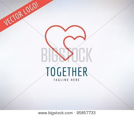Heart Icon Vector Logo. Love, Health or Doctor and Relations symbol. Stock design element.