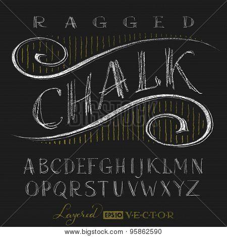 Alphabet hand drawn on chalkboard