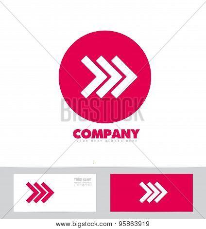 Forward arrow concept pink logo icon