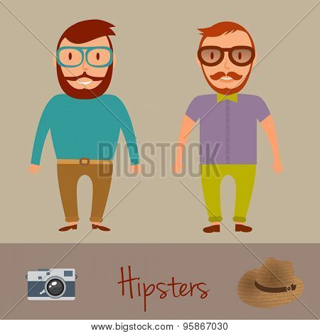 Hipsters character design. Two hipster style young mens. Vector illustration