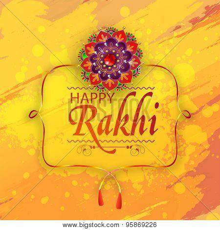 Creative greeting card design decorated with beautiful floral rakhi on grungy yellow background for Indian festival, Happy Raksha Bandhan celebration.