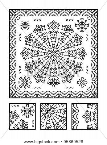 Framed mandala coloring page for adults (children ok, too) and visual puzzle. Puzzle directions: find the fragment that does not belong to the main picture. Answer: middle. poster