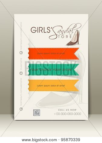 Stylish flyer for girl's shoes shop with place holder, address bar and mailer.