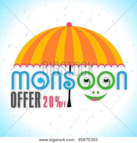 Stylish text Monsoon Offer with funny smiling face under beautiful umbrella on shiny rainy background.