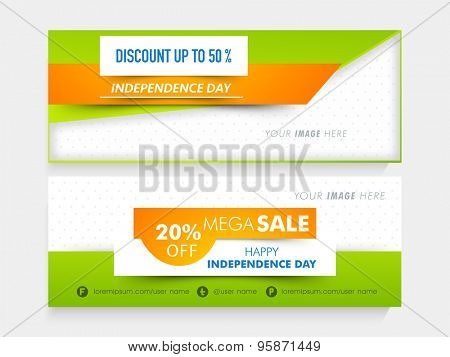 National tricolor Mega Sale website header or banner set with place holder for Indian Independence Day celebration.