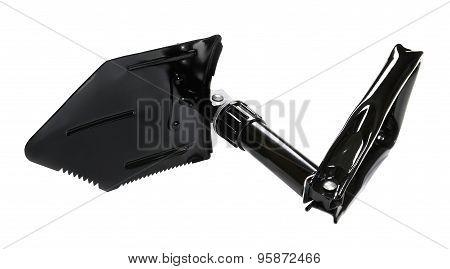 Foldable sapper shovel on white background