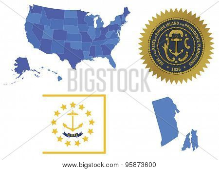 Vector Illustration of Rhode Island state, contains: High detailed map of USA High detailed flag of state Rhode Island High detailed great seal of state Rhode Island State Rhode Island, shape
