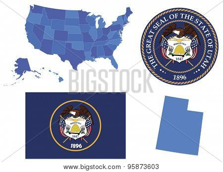 Vector Illustration of Utah state, contains: High detailed map of USA High detailed flag of state Utah High detailed great seal of state Utah State Utah , shape