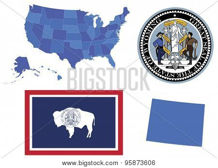Vector Illustrator of Wyoming state,contains: High detailed map of USA High detailed flag of Wyoming state High detailed great seal of state Wyoming State Wyoming, shape
