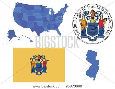 Vector Illustration of state New Jersey contains: High detailed map of USA High detailed flag of New Jersey state High detailed great seal of state New Jersey State, New Jersey,shape
