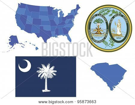 Vector Illustration of South Carolina state, contains: High detailed map of USA High detailed flag of state South Carolina High detailed great seal of state South Carolina State South Carolina, shape