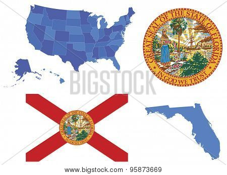 Vector illustration of state Florida, contains: High detailed map of USA High detailed flag of state Florida High detailed great seal of state Florida State Florida, shape
