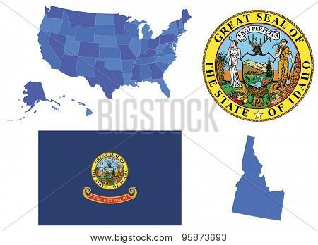 Vector Illustration of state Idaho, contains: High detailed map of USA High detailed flag of state Idaho High detailed great seal of state Idaho State Idaho, shape