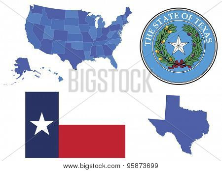 Vector Illustration of state Texas,contains: High detailed map of USA High detailed flag of state Texas High detailed great seal of state Texas State Texas, shape