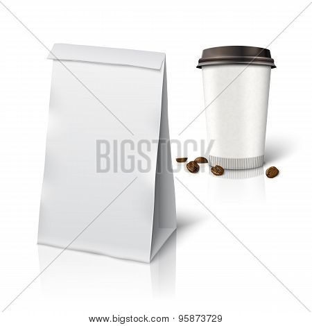Blank white vector realistic paper packaging bag and coffee cup, beans