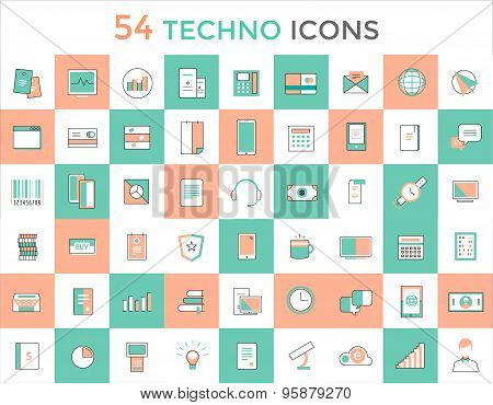 Business vector logo icons set. Objects, techno and finance symbols. Stock design elements.