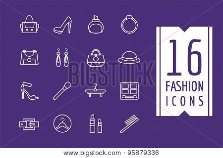 Fashion e-commerce vector icons set. Shopping symbols. Interface elements Stock illustration