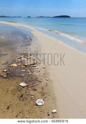 Sihanoukville, Cambodia - November 17, 2014 Garbage Pollution On The Beach