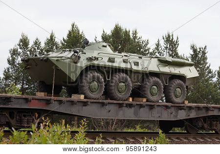 Kandalaksha, Russia - July 13, 2015: Btr-80 - The Russian Armored Personnel Carrier On Train Platfor