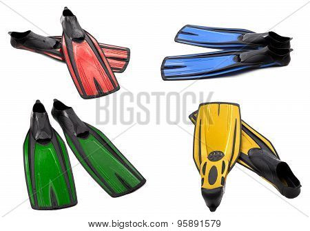 Set Of Multicolor Swim Fins For Diving On White Background