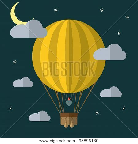 Flat Design Modern Vector Illustration Of A Hot Air Balloon Concept For New Business Project, Creati