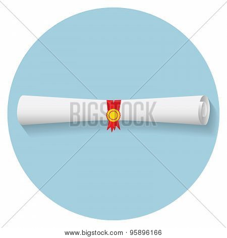 Flat Design Modern Vector Illustration Of Graduation Diploma Icon
