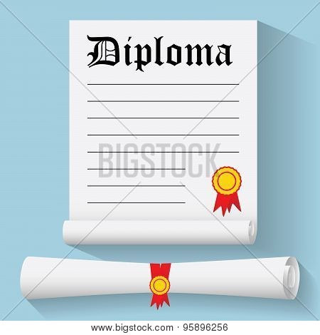 Flat Design Modern Vector Illustration Of Degree Scroll With Red Ribbon And Diploma, On Color Backgr