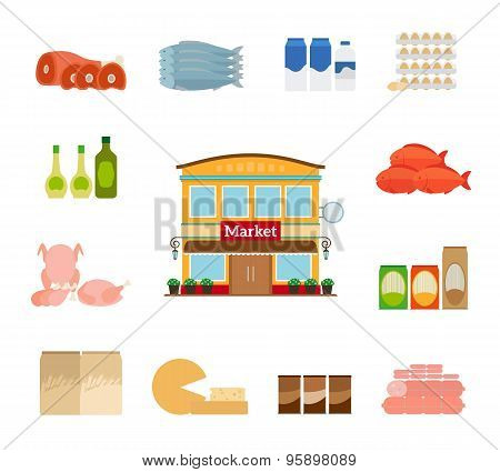Grocery icons. Cheese and fish, chicken and milk. Grocery store icon poster