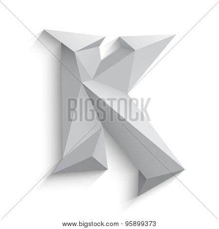 Vector illustration of 3d letter K on white background.