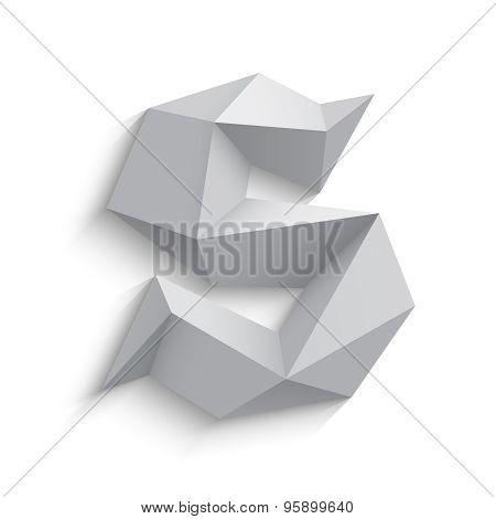 Vector illustration of 3d letter S on white background.