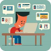Cartoon young man sitting at a table and chatting online with friends using laptop. Sharing music, video, photos, interesting places. poster