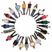 Smiling happy multicultural multi ethnic group of young people in circle isolated on a white background poster