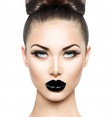 High Fashion Beauty Model Girl with Black Make up and Long Lushes. Black Lips. Dark Lipstick and White Skin. Vogue Style Portrait isolated on white background poster