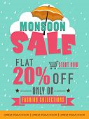 Monsoon Sale with flat 20% discount offer on fashion collection, Creative template, banner or flyer design on falling raindrops background.  poster