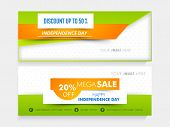 National tricolor Mega Sale website header or banner set with place holder for Indian Independence Day celebration. poster
