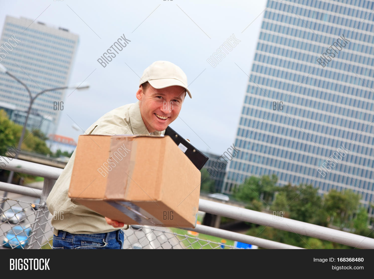 Tall City Delivery >> Smiling Delivery Image Photo Free Trial Bigstock
