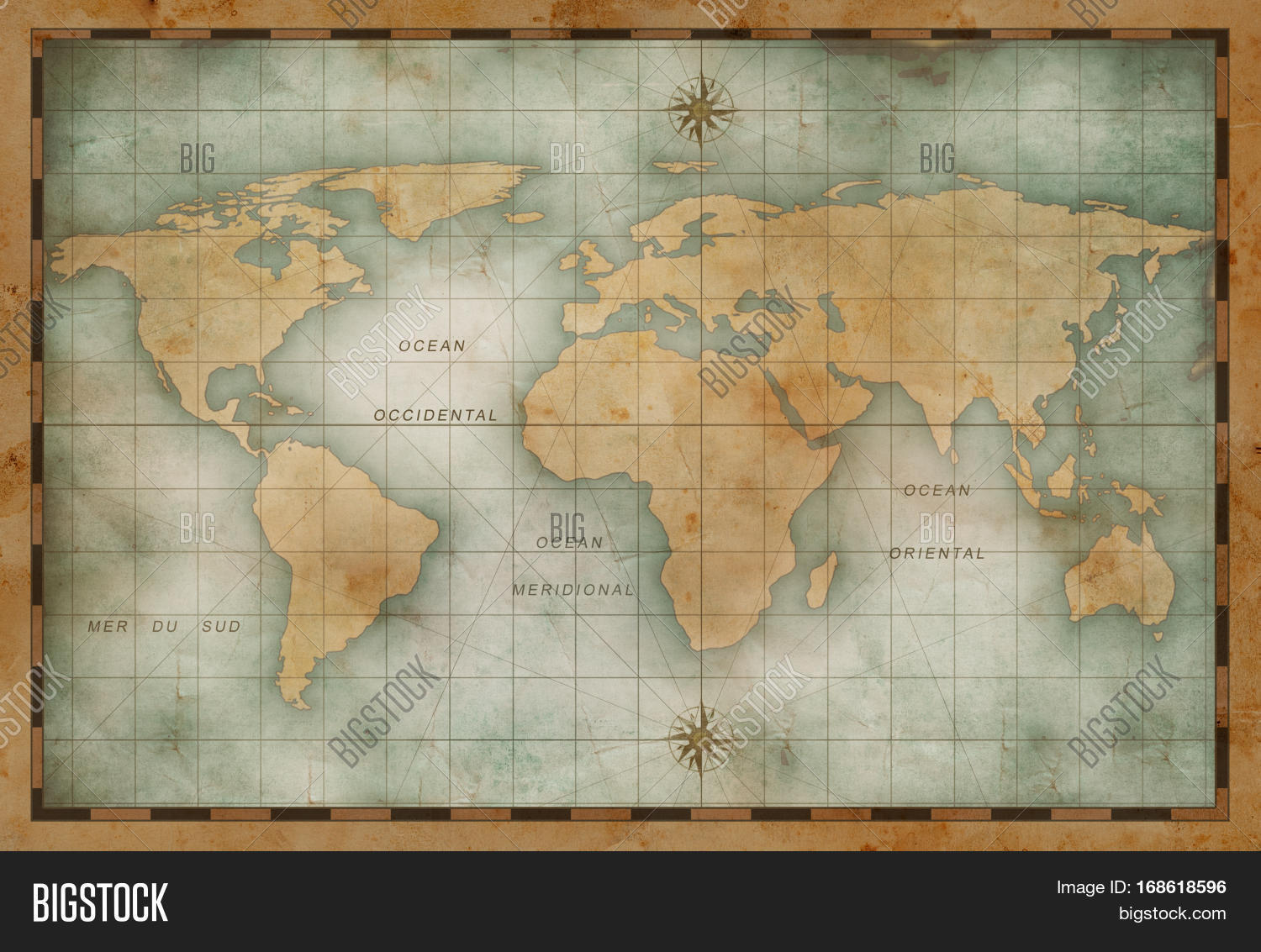 Old Nautical World Map Image Photo Free Trial Bigstock