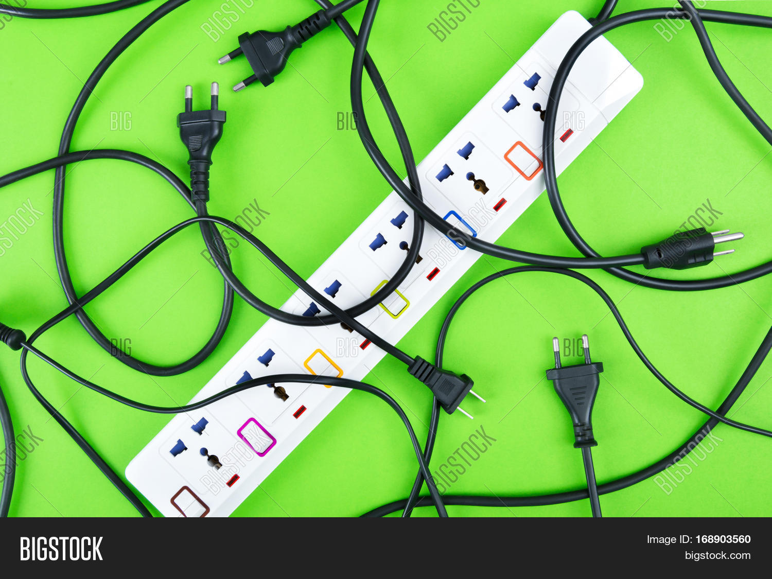 Messy Electrical Cords Image Photo Free Trial Bigstock Wiring Of Plugs And Wires Unconnected Power Strip Or Extension Block With