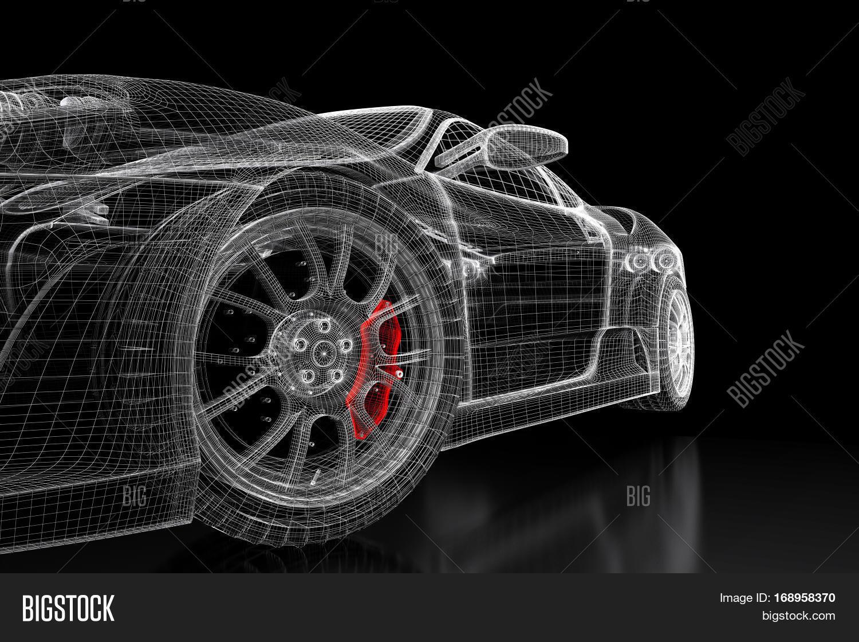 Imagen y foto car vehicle 3d prueba gratis bigstock car vehicle 3d blueprint mesh model with a red brake caliper on a black background malvernweather Image collections