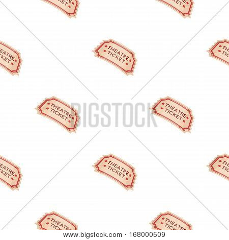 Theatre ticket icon in cartoon style isolated on white background. Theater pattern vector illustration