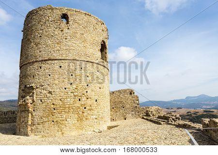 Tower of the Castle Jimena de la Frontera, Cadiz, Spain.