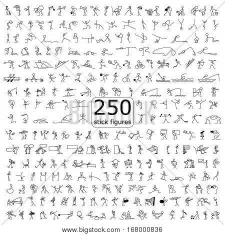 Cartoon icons set of 250 sketch little vector people stick figure in cute miniature scenes.